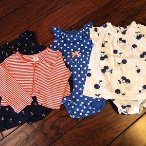 Carter's Bundle x3 - Toddler Girls Sunsuits sz 12m